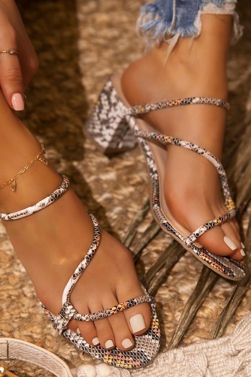 Snakeskin Slip-On Sandals
