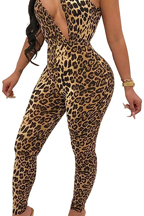 Leopard Cut Out Jumpsuit