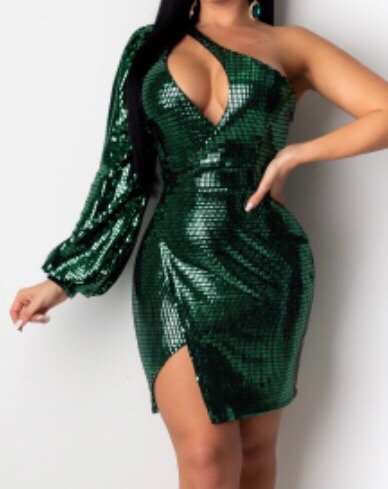 One Arm Sequin Dress