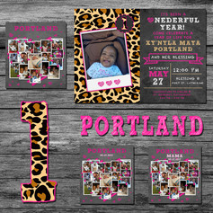 1st Birthday Invitation, Collage, Tag and T-Shirt Design