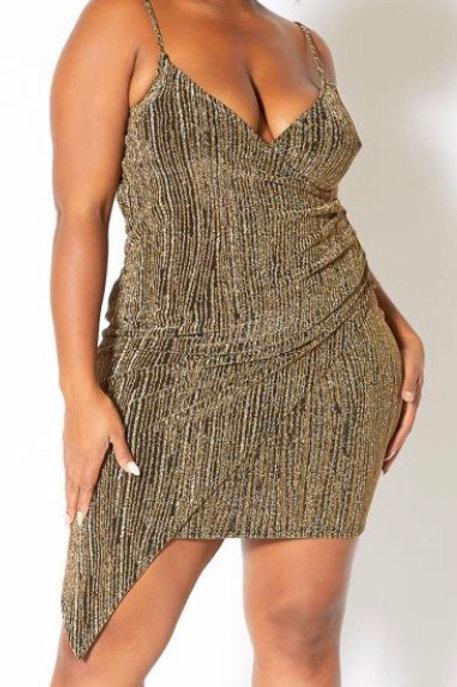 Plus Size Gold Shimmer Mini Dress
