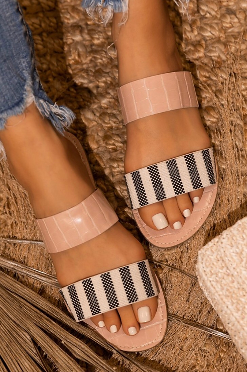 Striped Double Strap Sandals
