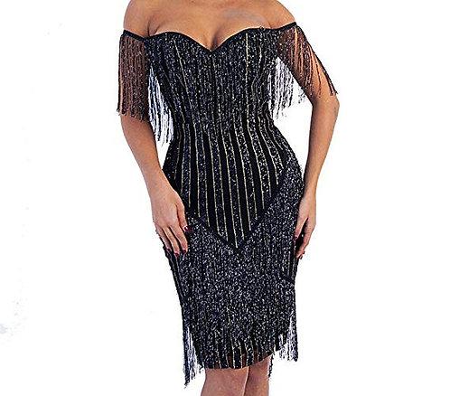 Bustier Tassel Glitter Mini Dress