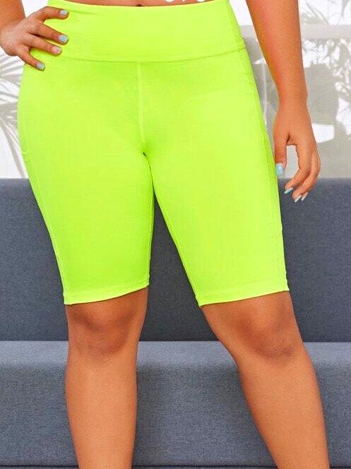 Plus Size Solid Neon Biker Shorts