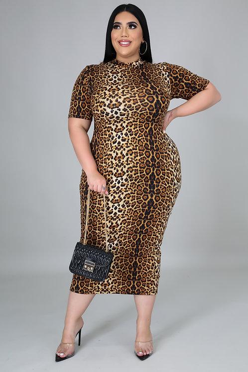 Plus Size Leopard Midi