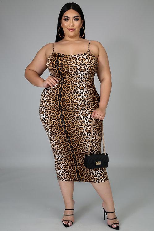 Plus Size Leopard Print Midi
