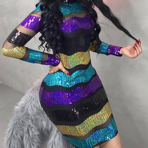Plus Size Colorful Striped Sequin Dress