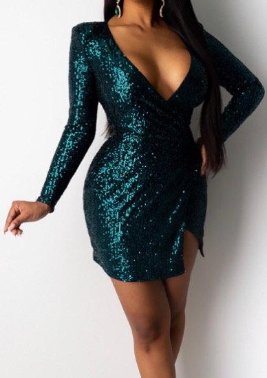 Long Sleeve Sequin Wrap Dress