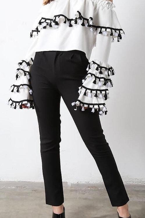 Tassel Top & Dress Pants Set