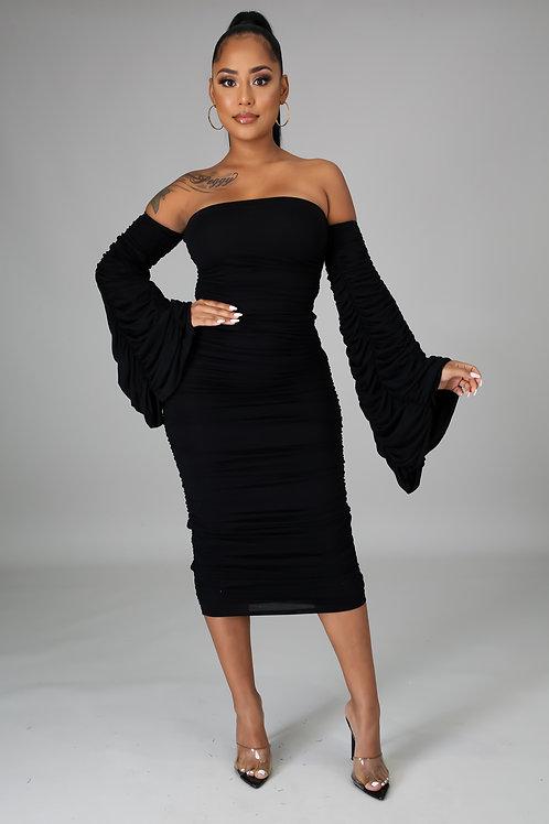 Ruched Off Shoulder Dress