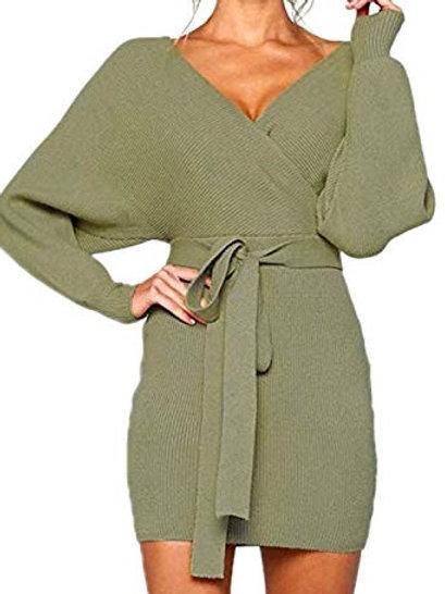 Plus Size Wrap Sweater Dress