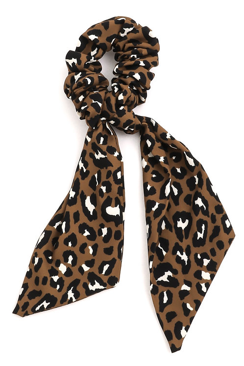 Leopard Print Ribbon Tail Scrunchie
