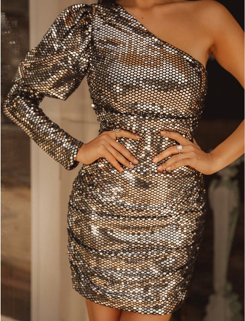 Puff Shoulder Sequin Dress