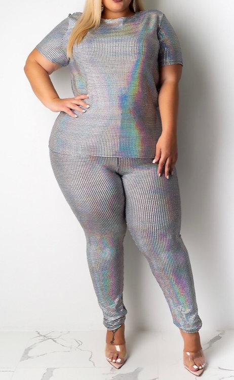 Plus Size Sequin Pants Set