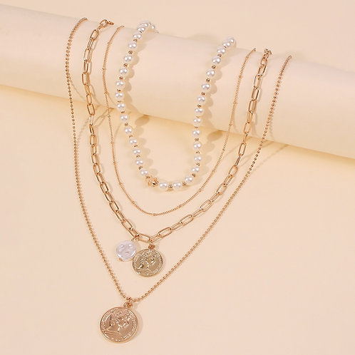Pearl & Coin Layer Necklace