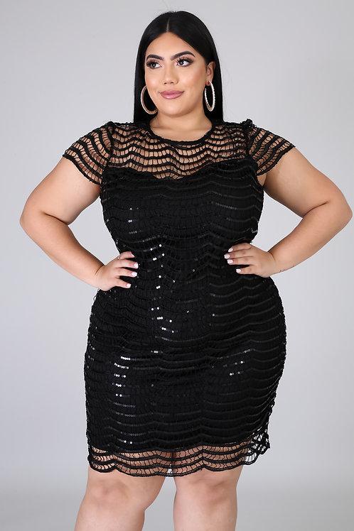 Plus Size Sequins Dress