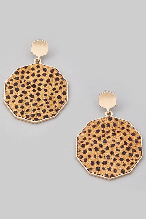 Cheetah Print Disc Earrings