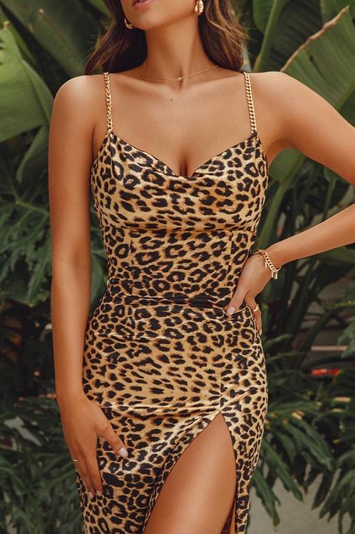 Plus Size Leopard Cowl Neck Dress
