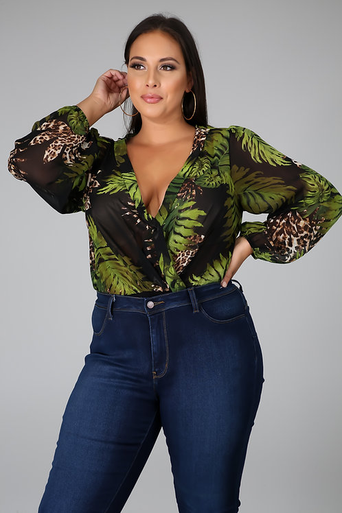 Plus Size Tropical Bodysuit