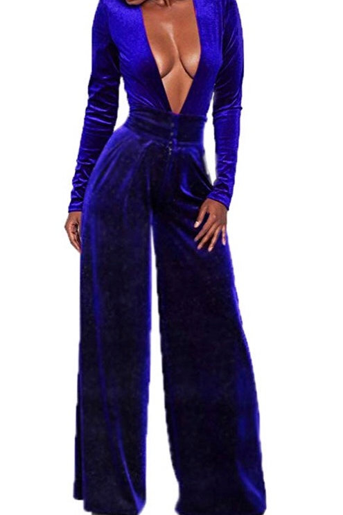 Plus Size Velvet Jumpsuit