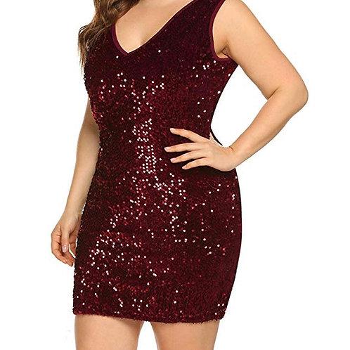 Plus Size V Neck Sequin Dress