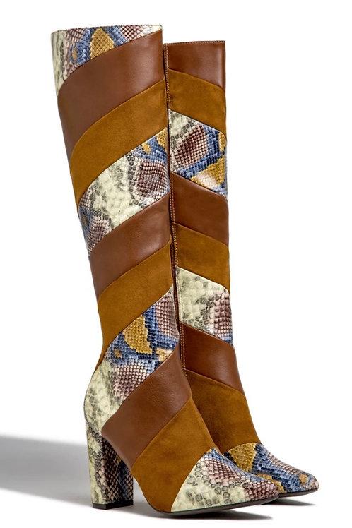Multi Snake Knee High Boots