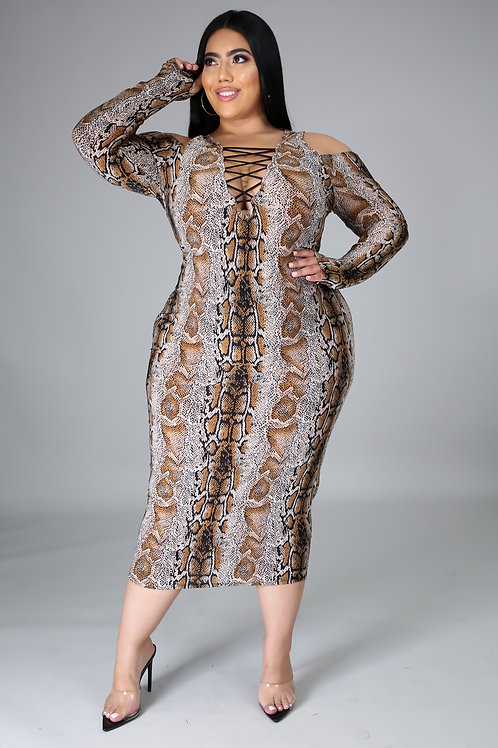 Plus Size Snake Print Lace Up Dress