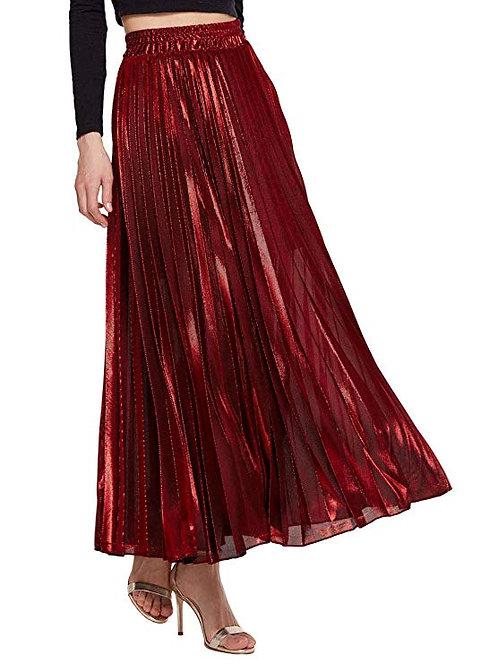 Plus Size Metallic Pleated Maxi Skirt