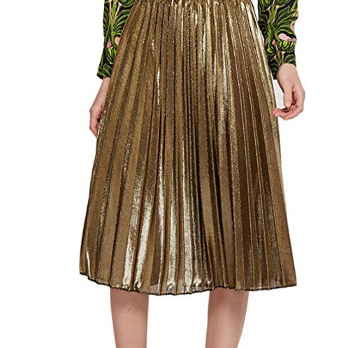 Plus Size Metallic Pleated Knee Length Maxi Skirt
