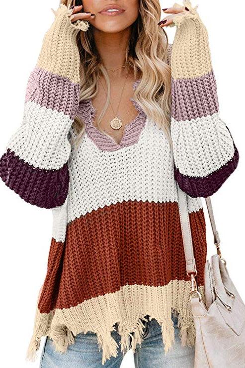 Plus Size Color Block Distressed Sweater