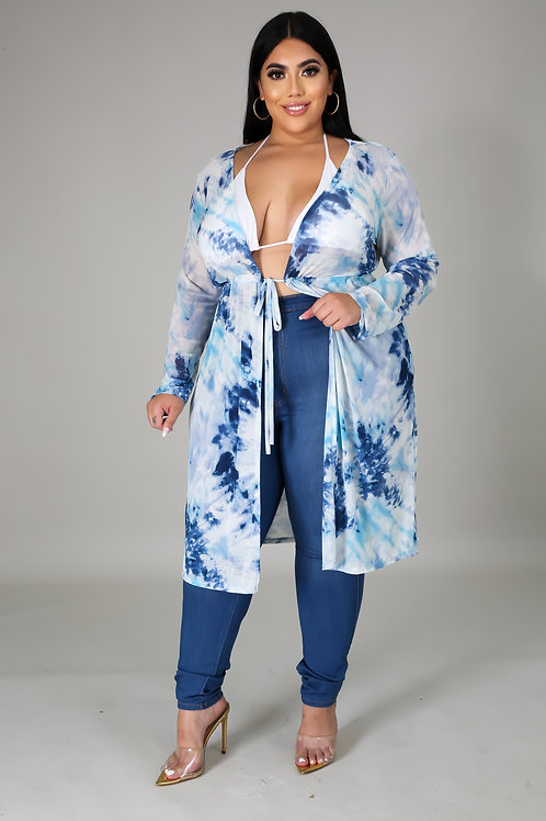 Plus Size Tie Dye Long Sleeve Cover Up