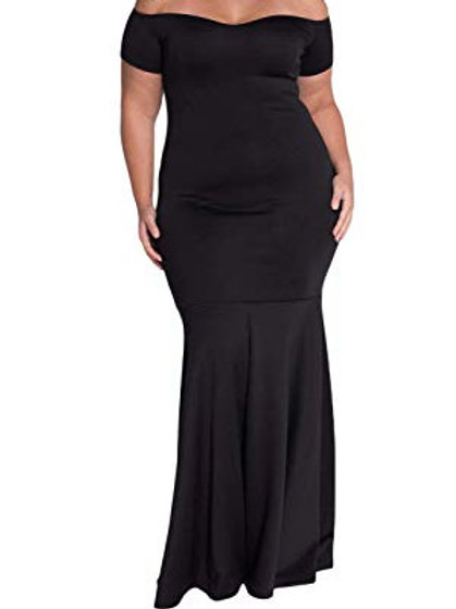 Plus Size Off Shoulder Long Formal Dress