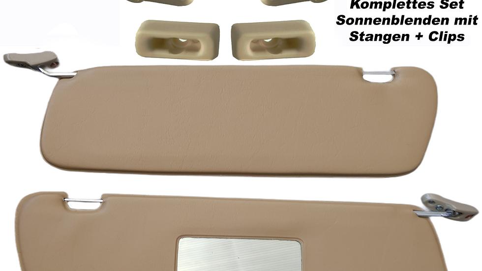 Sonnenblenden Sunvisor Paar mit Stangen + Clips für Mercedes SL 107 R107 Beige