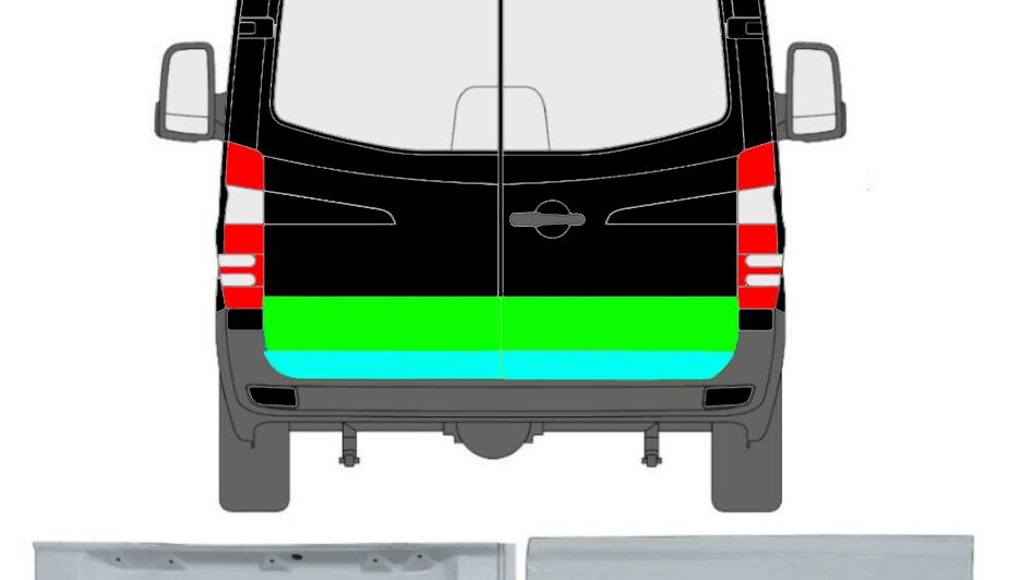 4x Hinten Tür Reparaturblech Außen und Innen für Mercedes Sprinter VW Crafter 06