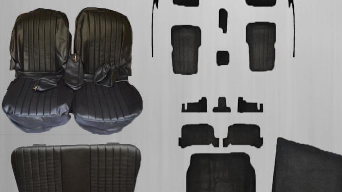 Sitzbezüge + Rückbank + Teppichsatz ,schwarz für Mercedes SL R/W107