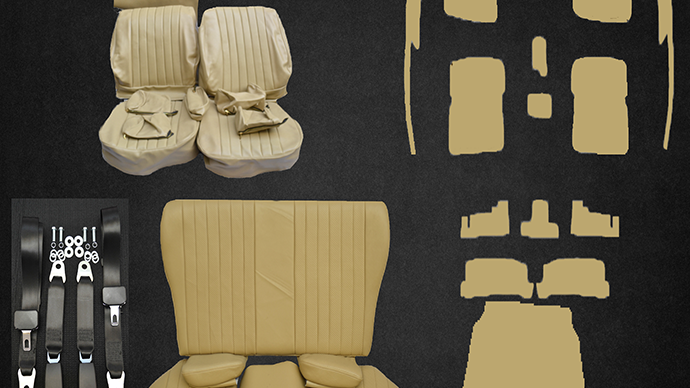 Sitzbezüge+Rückbank klappbar+Teppich+Gurte ,beige-creme Paket für SL R/W107
