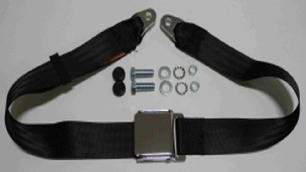 Chrom-Retro statischer Beckengurt mit schwarzem Gurtband passend für W113 Pagode