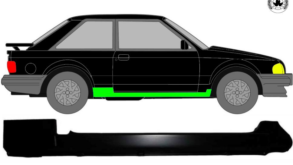 Voll Schweller Reparaturblech / Rechts für Ford Escort Mk3 1980-1986 3 Tür