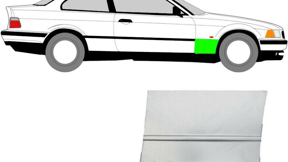 Vorne Kotflügel Reparaturblech / Rechts für BMW 3er E36 Coupe 1992-1999