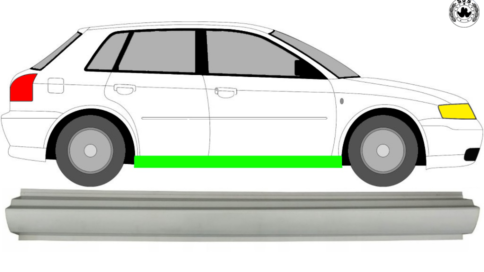 1x Türschweller Reparaturblech (Rechts = Links) für Audi A3 8L 1996-2003 3 Tür