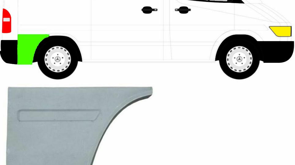 Hinten Kotflügel Reparaturblech / Rechts für Mercedes Sprinter VW LT 95-06 Kurz