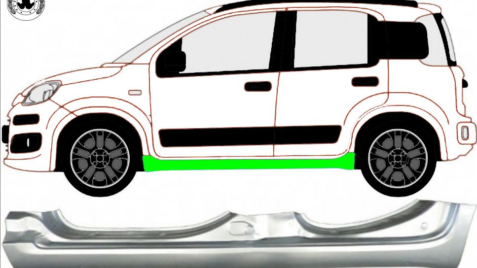 Voll Schweller Reparaturblech / Links für Fiat Panda 2012-