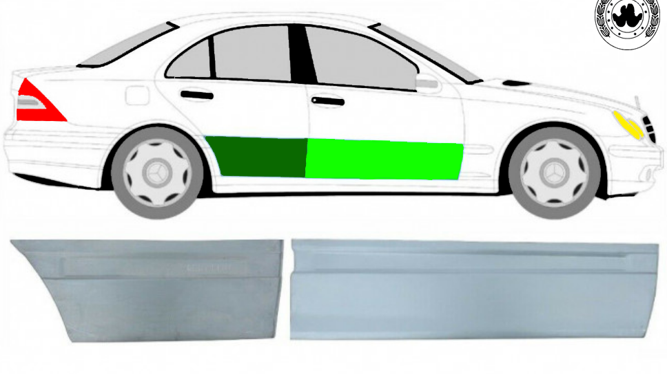 2x Vorne und Hinten Tür Reparaturblech /Rechts für Mercedes C-Klasse W203 00-07