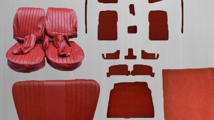 Sitzbezüge + Rückbank + Teppichsatz , rot Paket für Mercedes SL R/W107