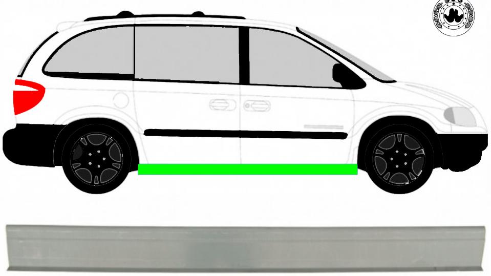 Schweller Reparaturblech Unterteil / Rechts = Links für Chrysler Voyager 00-08
