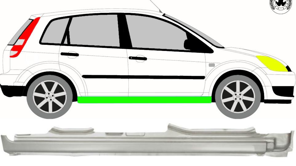 Voll Schweller Reparaturblech / Rechts für Ford Fiesta 2002-2008 3/5 Tür