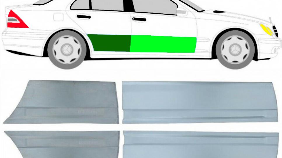 4x Vorne und Hinten Tür Reparaturblech / Satz für Mercedes C-Klasse 203 00-07