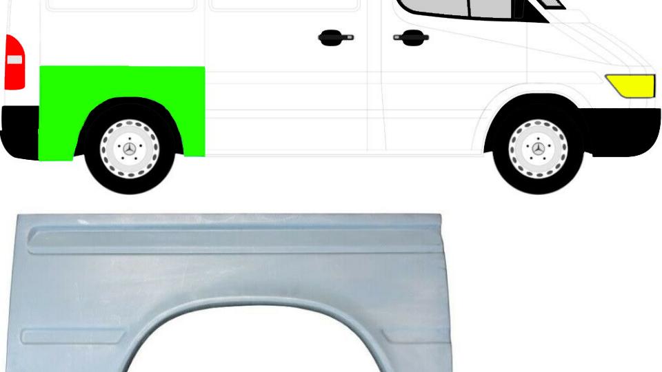 Hinten Kotflügel Reparaturblech Rechts  für Mercedes Sprinter VW LT 95-06 kurz