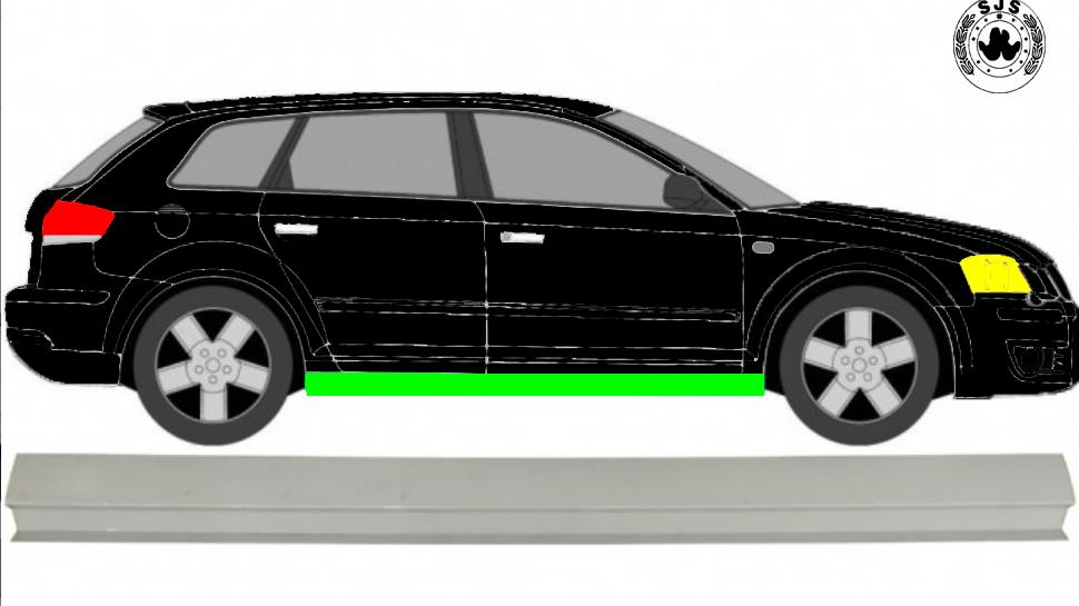 Schweller Reparaturblech / Rechts = Links für Audi A3 8P 2003-2015 3/5 Tür