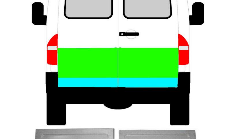 4x Hinten Tür Reparaturblech Außen Innen Satz für Mercedes Sprinter VW LT 95-06
